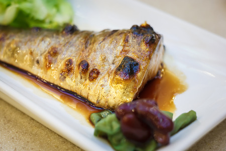 Saba fish grill with japanese sauce with shallow depth of field photo