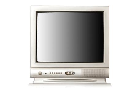 Vintage TV geïsoleerd op witte achtergrond  Stockfoto