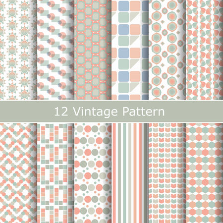 Collection of vintage different vector seamless patterns, 12 patterns  Endless texture can be used for wallpaper, pattern fills, web page background,surface textures  Vector