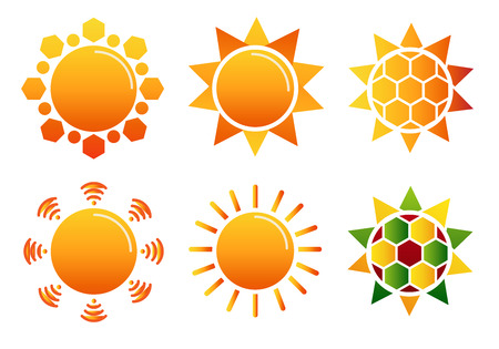 Collection of design vector suns