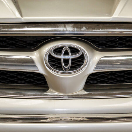 BANGKOK - JULY 21   Logo of Toyota car in park