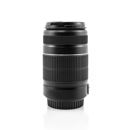 telezoom: Zoom or tele lens isolated on white background