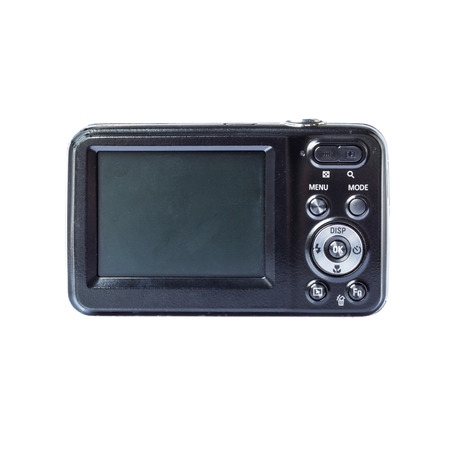 megapixel: LCD of black compact digital camera on white background