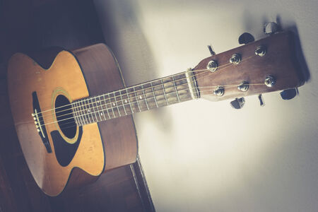 middle joint: Closeup of acoustic guitar with shallow depth of field Stock Photo