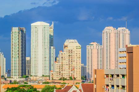 Condominium and Flat in raining day in Bangkok at sunset photo