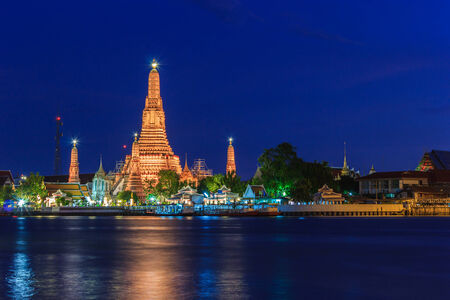 Wat arun in twilight time, Thai temple Bangkok Thailand photo