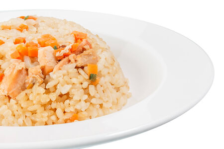 Asian styled Fried rice with a salmon isolated on white background