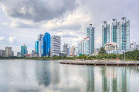 Bangkok city with rain cloud photo