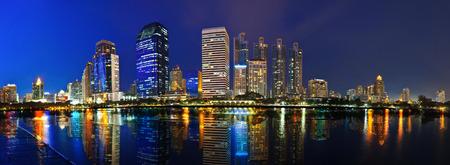 Panorama Cityscape with reflection at night Bangkok Thailand Stock Photo