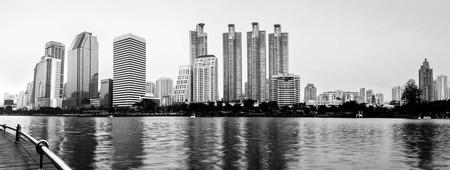 Panorama of Bangkok city downtown, Black & White photo