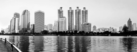Panorama of Bangkok city downtown, Black & White photo
