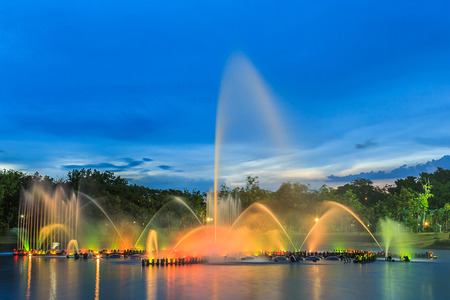 Musical fountain with colorful illuminations at dusk. Bangkok Thailand Stock Photo