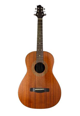 白い背景で隔離のアコースティック ギター