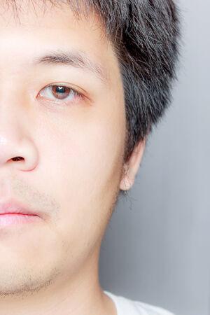 primer plano cara: Retrato de un hombre asi�tico, la mitad de la cara de cerca