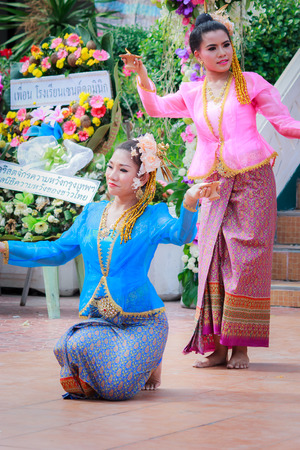 thai dancing: Bangkok - July 26: Thai dancing funeral in order to respect and remembrance to the dead. This cultural tradition in Thailand has taken place from ancient times, on July 26, 2014 at Bangkok Thailand.