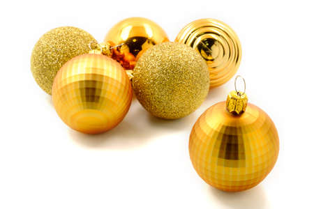 Golden christmas balls on white background and balls background photo