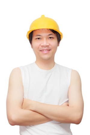 Young man with brown suit and yellow hard hat