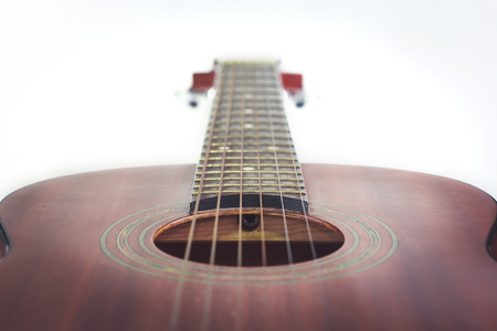 middle joint: Acoustic guitar isolated on white background