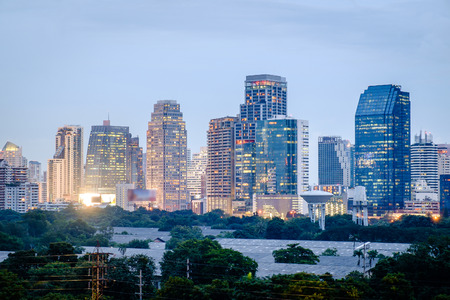 Bangkok night cityscape, Landmark of Bangkok modern town in twilight time. The popular tourist spot in Bangkok. Stock Photo