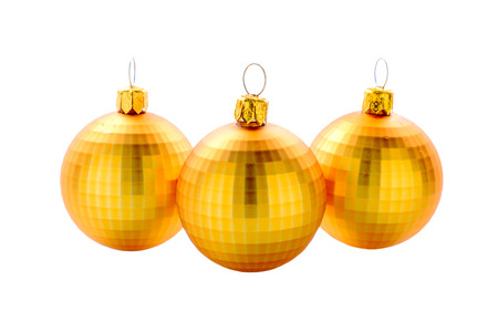 Golden christmas balls on white background and blur balls background Stock Photo
