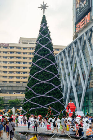 Bangkok - Nov 30: Front of Central World, shopping mall with Festival and Christmas decoration on November 30, 2014 at Bangkok Thailand. Editorial