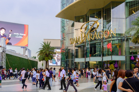 Bangkok - November 30: Front of Siam Paragon, Popular shopping mall on November 30, 2014 in Bangkok Thailand