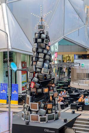 composing: Bangkok - November 30:  Retro TV composing Christmas Tree, Front of Siam Discovery shopping mall on November 30, 2014 at Bangkok.