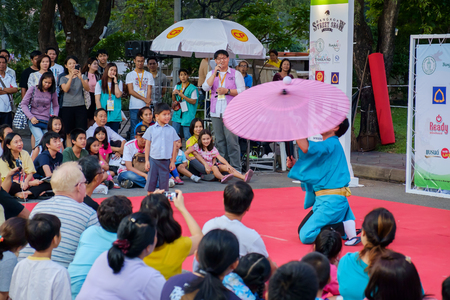 Bangkok - December 12: Bangkok Street Show or Busking Festival at Lumpini public park, Free entrance on December 12, 2014 at Bangkok, Thailand.