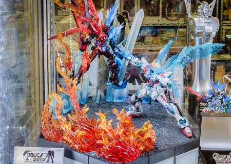 Bangkok - December 27 : Small gundam display at Model shop on December 27, 2014 at Bangkok. This display is Second best of Gunpla Builders World Cup.