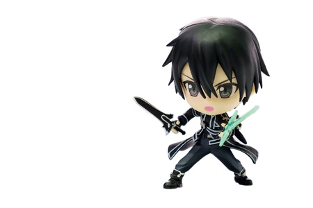 Bangkok - December 27 : Kirito Nendoroid, Character of Sword Art Online Anime, Isolated on white background on December 27, 2014 at Bangkok Thailand.