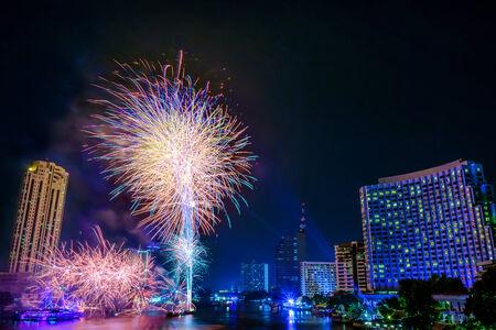 Fireworks countdown 2015 over Chaopraya river view Bangkok Thailand. photo