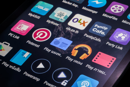 Bangkok Thailand -  January 10, 2015: Thai application icons on smart phone screen Editorial