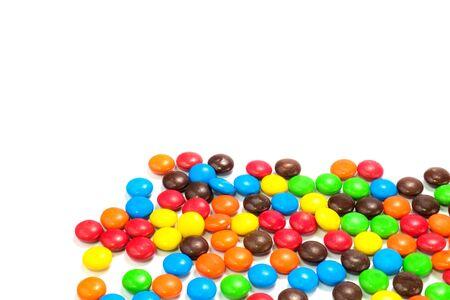 Een stapel van kleurrijke chocolade bedekt snoepje Stockfoto