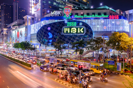 Bangkok  DEC 24 : MBKs shopping mall at night welcome to Christmas and Happy New Year 2015 festival on December 242014 at Bangkok Thailand