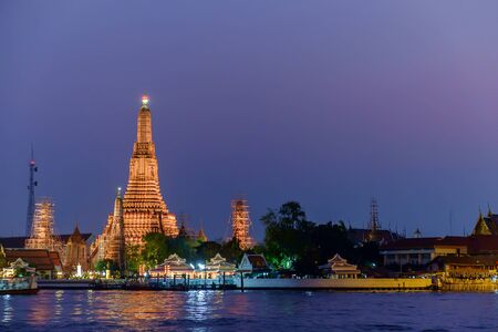 Wat arun in twilight time Thai temple Bangkok Thailand Stock Photo