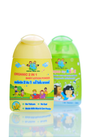 talcum: Bangkok, Thailand - November 2, 2015: Aim Thai Organic 2 in 1 Baby Lotion Powder, No Talcum No Dust and made with rice  Corn Powder.