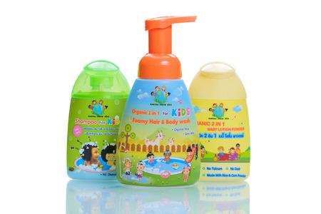 body wash: Bangkok, Thailand - November 2, 2015: Aim Thai Organic 2 in 1 Baby Lotion Powder and Foamy Hair  Body wash.
