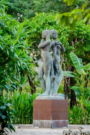 naked statue: Bangkok, Thailand - 29 January 2016 : Two naked women statue in Lumpini Public Park,famous and celebrated public park in Bangkok. Editorial