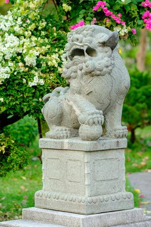 statuary garden: Bangkok, Thailand - 29 January 2016 : Chinese lion statue in Lumpini Public Park,famous and celebrated public park in Bangkok.