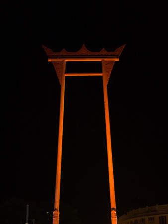 thai believe: Night Giant swing A religious structure in Bangkok, Thailand