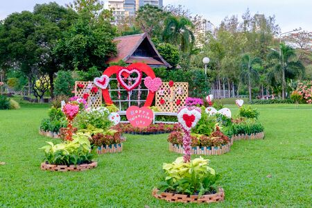 lumpini: Bangkok, Thailand - February 11, 2016: Outdor with decorated with Valentines Day at Lumpini park.