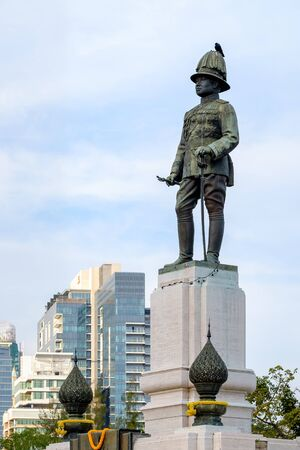 Bangkok - February 11, 2016: King rama VI monument located at the front of Lumpini park, bangkok, Thailand