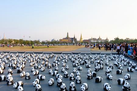Bangkok, Thailand - March 4, 2016: 1600 Paper Mache Pandas campaign showcase at Bangkok evening by WWF to promote environmental preservation. Editorial
