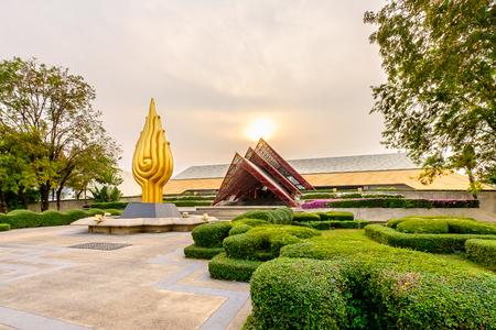 Bangkok, Thailand - 29 februari 2016: Queen Sirikit National Convention Center. Het is een congrescentrum en een tentoonstellingszaal in Bangkok, Thailand