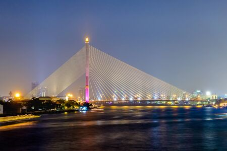 rama: Rama 8 bridge on chao phraya river bangkok city thailand Stock Photo