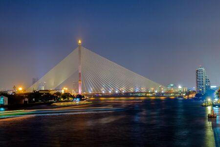 Rama 8 bridge on chao phraya river bangkok city thailand Stock Photo