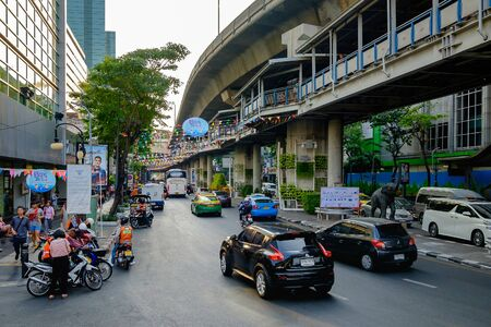 silom: Bangkok, Thailand - April 12, 2016: Preparation of Bangkok Songkran Festival Silom 2016, The Songkran festival is celebrated in Thailand as the traditional New Years Day from 13 to 15 April.