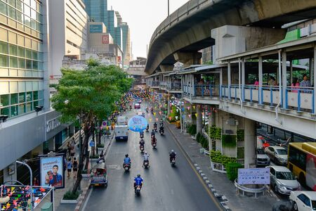 new years day: Bangkok, Thailand - April 12, 2016: Preparation of Bangkok Songkran Festival Silom 2016, The Songkran festival is celebrated in Thailand as the traditional New Years Day from 13 to 15 April.