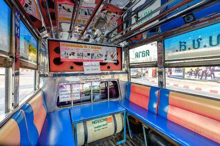 mini bus: Bangkok, Thailand - April 4, 2016: Interior of an old mini bus,Thailand Editorial