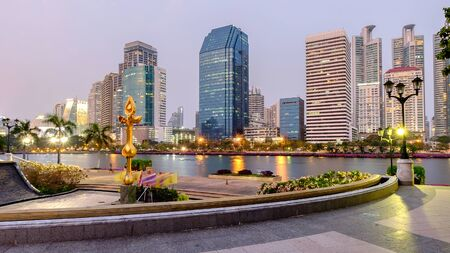 benjakitti: Bangkok, Thailand - March 30, 2016: Bangkok cityscape twilight at benjakitti public park on midtown bangkok thailand with high rise building of residential and business center.
